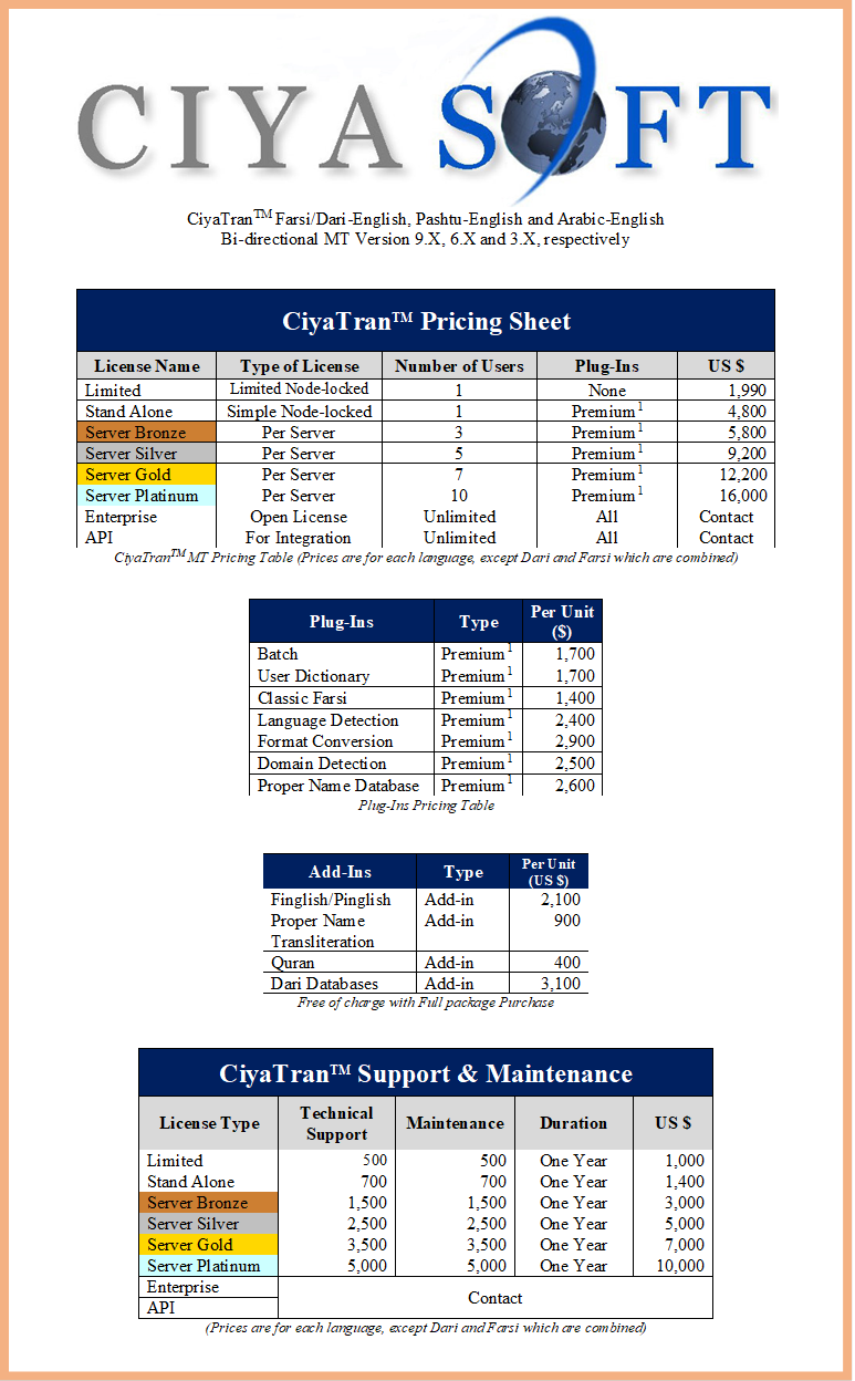 CiyaTranTM Farsi/Dari-English, Pashto-English and Arabic-English